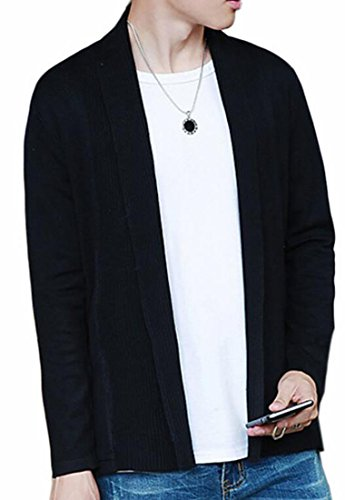 Solid Open Thin Plus Black Front Sweater Mens Knitted UK Fashion today Size 0wnHxXgRSq