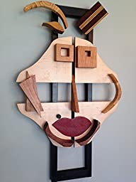 Big Red Lips - Abstract Face of a Woman made from Wood