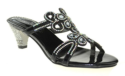 Abby Amn-t005 Dames Dames Nieuwe Mode Comfort Strass Middelhoge Slip Op Slippers Zwart