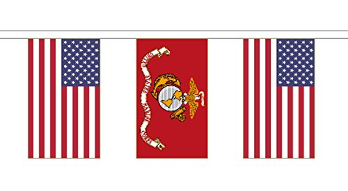 US Marine Corps and United States of America Friendship Polyester String Flag Bunting 5m (16') Bunting With 14 Flags