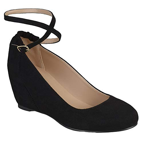 - Syktkmx Womens Mary Jane Wedges Pumps Ankle Wrap Mid Heels Round Toe Walking Dress Shoes