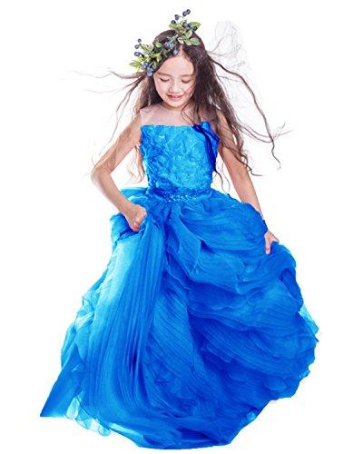 XSWPL Baby Princess Bridesmaid Flower Girl Dresses Appliques Prom Dress with Detachable Train Royal Blue US18 by XSWPL
