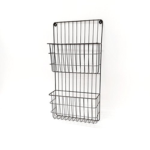 Two Tier Wall File Holder - Black Nickel Plated Durable Metal Rack with Spacious Slots for Easy Organization, Mounts on Wall and Door for Office, Home, and Work - by Designstyles