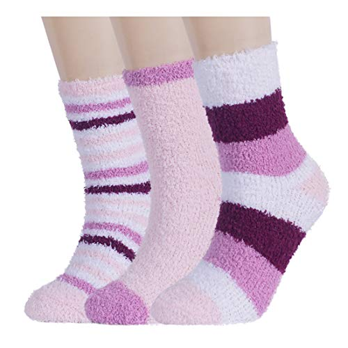 Plush Slipper Socks Women - Colorful Warm Crew Socks Cozy Soft 3/5/6 Pairs for Winter Indoor (3 Pairs Pack(Pink series))