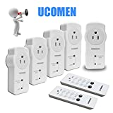 UCOMEN Wireless Outlet Switch with Remote Control, Wireless Remote Control Electrical Outlet Switch, Remote Control Outlet Light Switch for Household Appliances, Unlimited Connections (5Rx-2Tx)