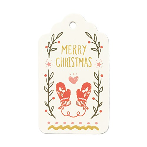 LWR Crafts 100 Hang Tags Scalloped Top with Cotton Strings 66ft for Holiday (Merry Christmas)