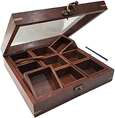An Exclusive Handicraft Brown Designer Wooden Spice Box Kitchen Dining Great 9 Spices Storage Boxes