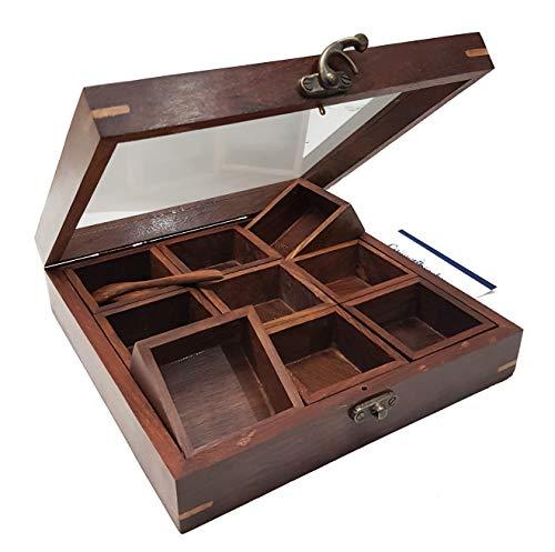 - An Exclusive Handicraft Brown Designer Wooden Spice Box Kitchen & Dining Great 9 Spices storage Boxes