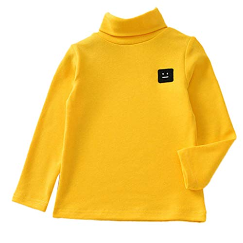 Fineser Teen Children Kid Baby Girl Boy Long Sleeve Solid Turtleneck Sweatshirt Tops Shirts Tee Casual Blouse Clothes 1-5Y (Yellow, 12-18 Months(90))