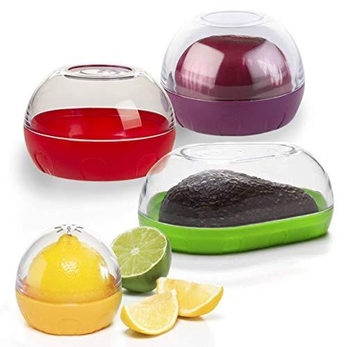 Happy Sales HSVK4, Onion, Tomato, Citrus, and Avocado Keeper 4-piece Bundle. BPA FREE