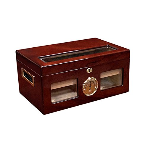 Prestige Import Group Valencia Glass Top Cigar Humidor - Capacity: 120 Cigars - Finish: High Lacquer