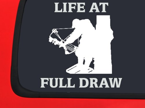 Draw Decals (Life at Full Draw - Archery Hunting Window decal truck vinyl sticker)