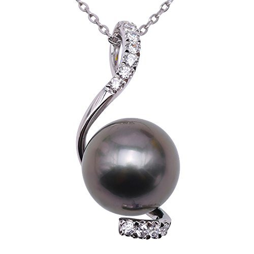 JYX Pearl 14K Gold Pendant AAA Quality 9.5mm Round Black Tahitian South Sea Cultured Pearl Pendant Necklace for Women