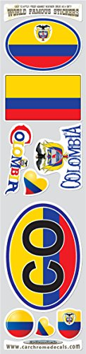 Car Chrome Decals STS-CO Colombia 9 stickers set Colombian flag decals bumper stiker car auto bike laptop