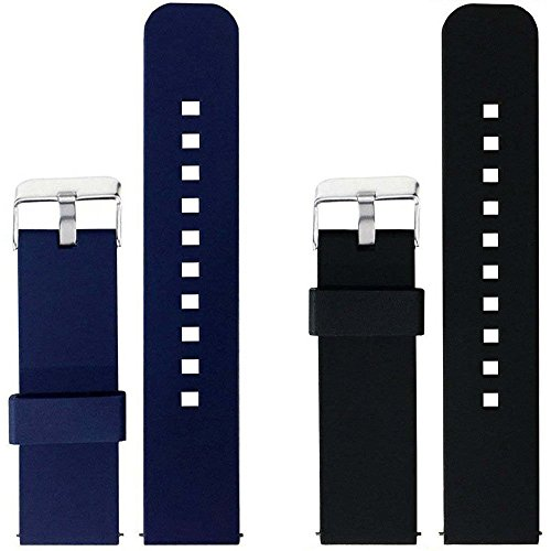 2Pcs Replacement Silicone Bands For Fossil Q Wander Gen 2 Touchscreen Only  Navy Black