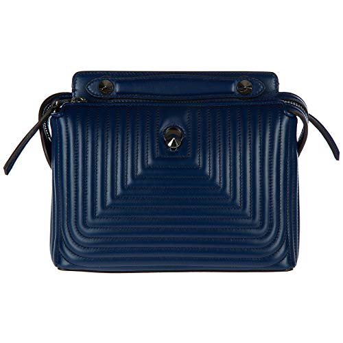 Handbag Blue Fendi (Fendi women's leather shoulder bag original dotcom nappa shiny blu)