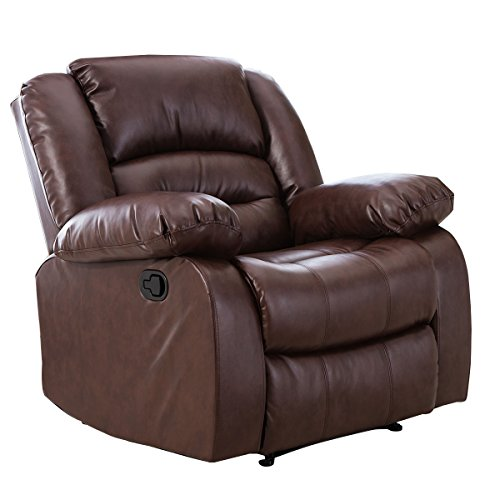 Giantex 3Pc Black Motion Sofa Loveseat Recliner Set Living Room Bonded Leather Furniture (Single Seat, Espresso)