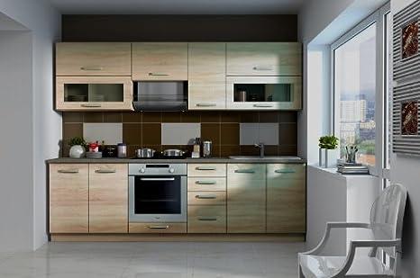 Küche ben 260 cm küchenzeile küchenblock variabel stellbar in sonoma eiche hell amazon de küche haushalt