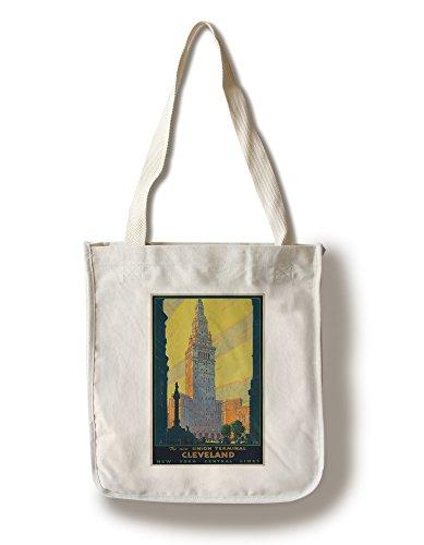(Lantern Press Union Terminal Cleveland - New York Central (Artist: Ragan) USA c. 1930 - Vintage Advertisement (100% Cotton Tote Bag - Reusable) )