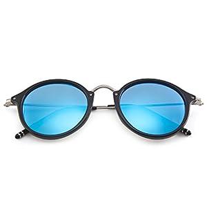 MT MIT Classic Retro Small Round Polarized Mirror Lens Metal Frame Unisex Sunglasses(Black_Blue)