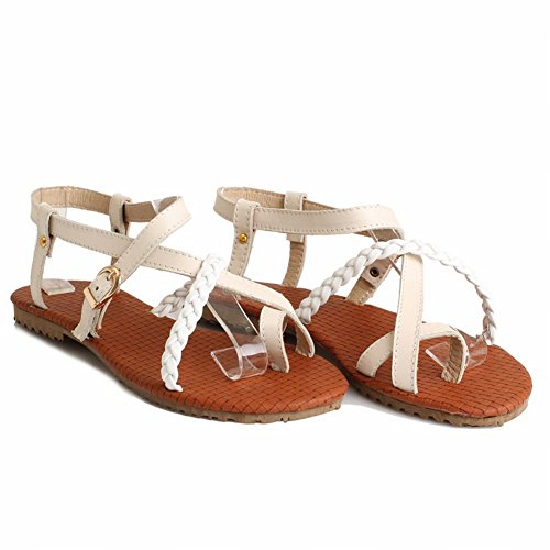 Carol Zapatos Mujeres Buckle Casual Comfort Summer Fashion Flats Sandalias Beige