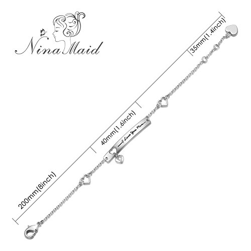 """NINAMAID """"I Love You Mom"""" Engraved 925 Sterling Silver Bracelet Sparkling Cubic Zirconia Mother's Gift by NINAMAID (Image #1)"""
