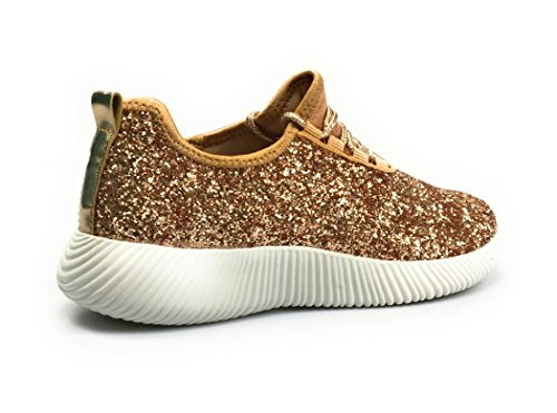 Qupid Dames Glitter Lace Up Sneaker - Casual Chic Veelzijdige Fashion By Style Skyrock-06 Roségoud