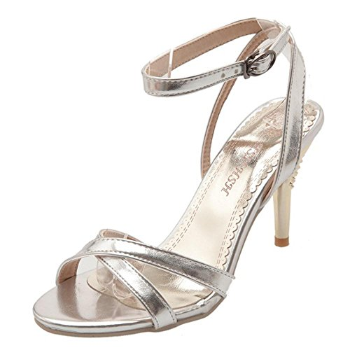 Caviglia Donna 63 Moda Silver Cinturino Scarpe Alla TAOFFEN Sandali wqgdIFq