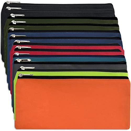 Classic Traditional Cloth Pencil Cases in Bulk in Solid Colors 24 Pack Bundle