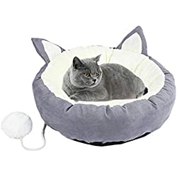 XABEGIN Pecute Cama para Gato Perro Redonda, Cojín Lindo Súper Suave, Cómodo Cálido Lavable Casa Inferior Antideslizante Extraíble