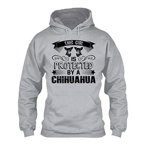In Prink Protected by Chihuahua Adult Hoodie Sweatshirt for Men, Women Grey,S