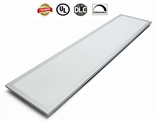 LED Panel Light Super Bright Ultra-Thin Glare-Free by Canopus 1 x 4 ft 40W  3500K Dimmable 3400 LM 100~277V Recessed Ceiling Panel Down Durable White Anodized Frame  Energy Star UL-Listed