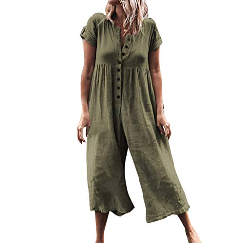 (ℱLOVESOOℱ Fashion Women Casual Jumpsuits Button Loose Solid Short Sleeve Playsuit Linen Long Jumpsuits Army Green)