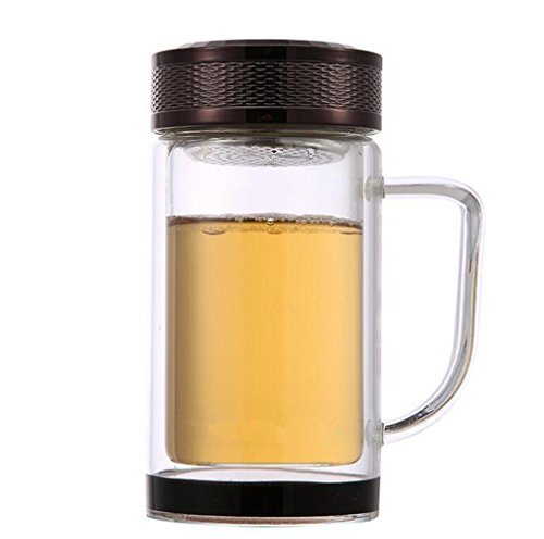 RTLMKB Coffee Mug ,Suitable for,families, restaurants.Double transparent glass cup creative portable filter tea cup with lid office hand cup, brown B, 320ML