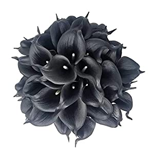 Real Touch Latex Calla Lily Bunch Artificial Spring Flowers for Home Decor, Wedding Bouquets, and centerpieces (18 PCS) (Black Velvet) 18