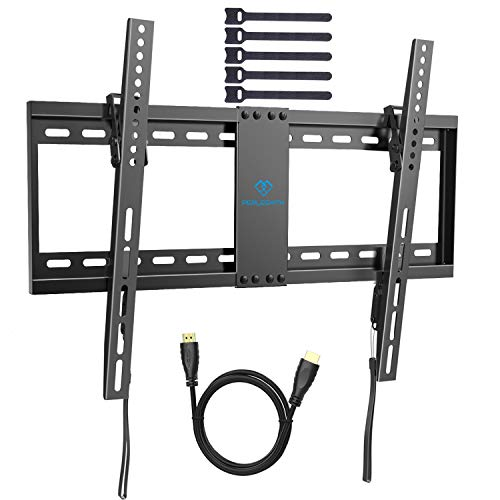 (PERLESMITH Tilt Low Profile TV Wall Mount Bracket for Most 32-70 inch LED, LCD, OLED and Plasma Flat Screen TVs with VESA Patterns up to132lbs 600 x 400 - Includes HDMI Cable,Bubble Level & Cable Tie)