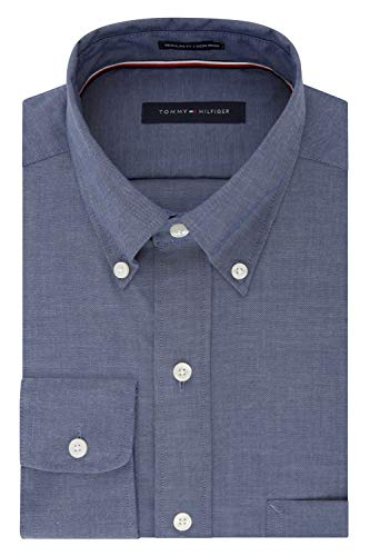 (Tommy Hilfiger Men's Regular Fit Non Iron Solid Button Down Collar, Night Blue, 16