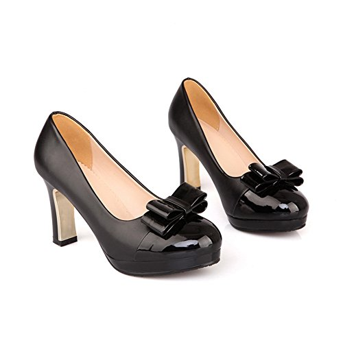 balamasa shoes Noir Mesdames enfiler à Heels pumps imitation High cuir rra8x6qOw