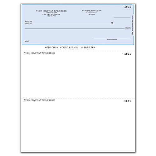 Laser Business Checks, Compatible with QuickBooks/Quicken - Top Format, Lined (500 qty) - Custom