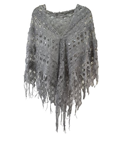 Modadorn Knitting Pattern Triangle Fashion Shawl (Knit Net Fringe Lace Charcoal) - Knit Ruana Pattern