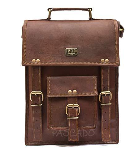 Pascado 13 inch leather laptop computer crossbody shoulder satchel messenger ipad tablet briefcase bag for mens womens