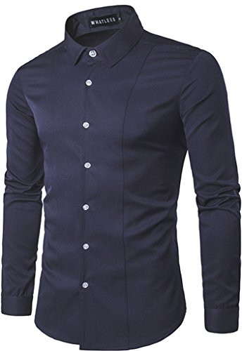 Whatlees Mens Solid Long Sleeve Slim Fit Button Down Dress Shirt B405-Navy-S