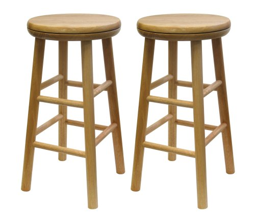 Winsome Wood 24-Inch Swivel Seat Barstool with Natural Finish, Set of 2 Round Rung