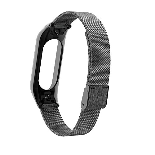 Price comparison product image for Xiaomi Mi Band 3 Milanese Stainless Steel Luxury Wrist Strap Wristband (Black)