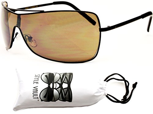 Metal Aviator Shield (A3031-VP Style Vault Metal Shield Aviator Sunglasses (V54 Black-Brown))