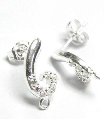 2 pcs .925 Sterling Silver Swirl Stud Cz Loop Post Earrings Dangle/Findings/Bright ()