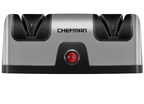 Chefman Electric Knife Sharpener, 2 Stage Diamond Coated Sharpening Blades, To Sharpen Kitchen, Chef, Paring, Pocket and Steel Knives, Better than Sharpening Stone, Silver/Black (Best Electric Hunting Knife Sharpener)