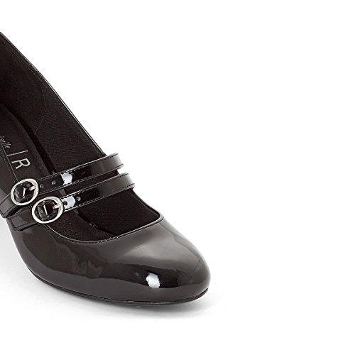 La Redoute Womens Patent Ballet Pumps With Double Strap Black fXOCTa