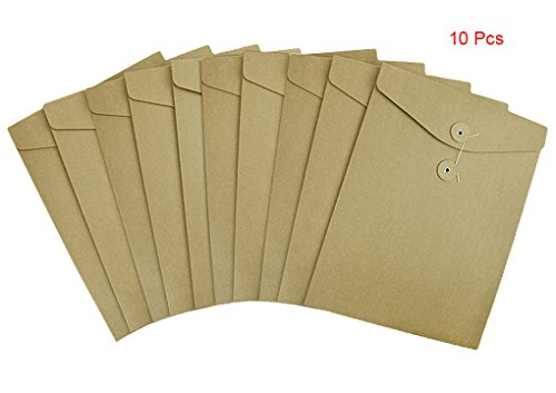 10 Pcs A4 Size Kraft Paper Project Envelope File Folder Bags Document Bills Storage Organizer Bag Case with Expandable Gusset Portfolio Organizer Sleeve Pocket With String Fastener, Office Supplies