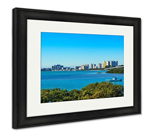 Clearwater Florida, Wall Art Home Decoration, Color, 26x30 (Frame Size), Black Frame, AG5919103 (Clearwater Glass Panels)